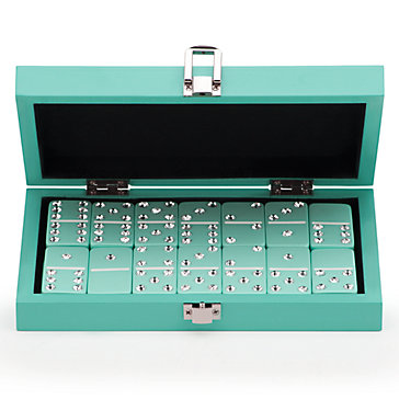 Bling Domino Set With Aquamarine Lacquer Case Host