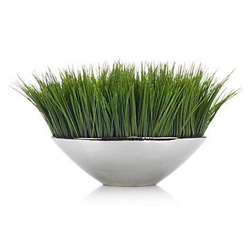Faux Grass In Silver Pot