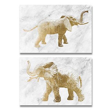 Gold Elephants - Set of 2