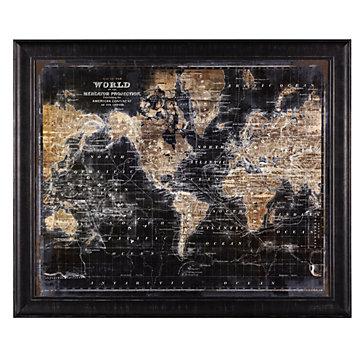 Golden world map vintage art themes art z gallerie golden world map sciox Gallery