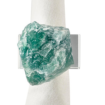 Green Fluorite Napkin Ring - Set of 4