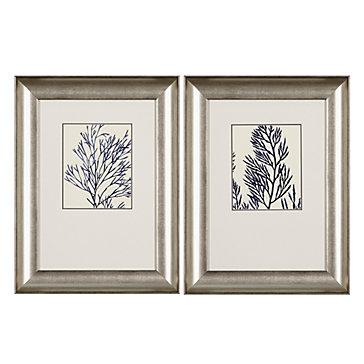 Ink Blue Coral - Set of 2
