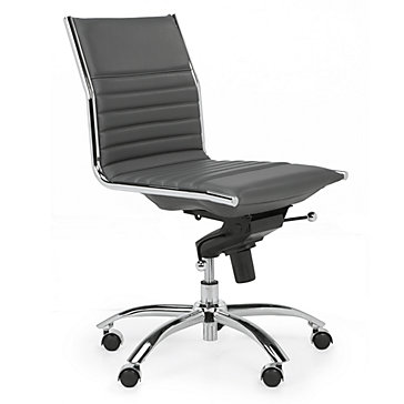 Malcolm Armless Chair Grey Jett Desk White Aqua Office - Grey office chair