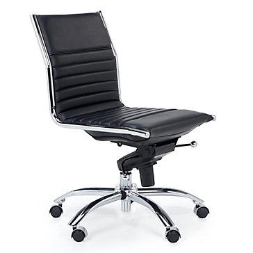 Malcolm Armless Desk Chair Black Jett White Aqua Office Inspiration Z Gallerie