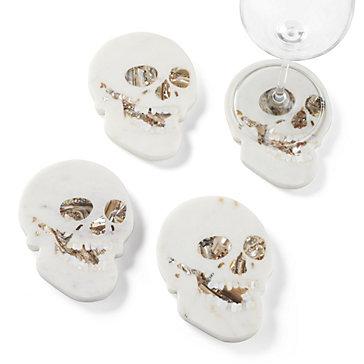 Marble Skull Coaster - Set of 4