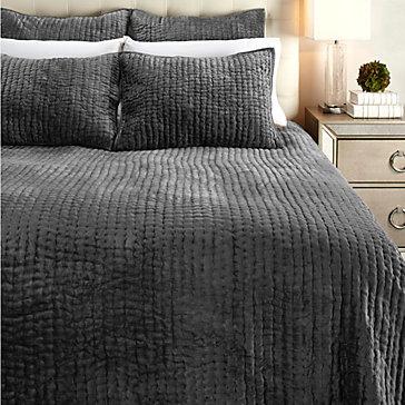 Mardon Velvet Bedding - Charcoal