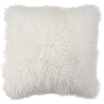 White Mongolian Fur Pillow