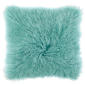 Aqua Mongolian Fur Pillow Z Gallerie
