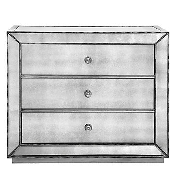Omni Mirrored 3 Drawer Hall Chest Silver Color Guide