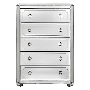 Simplicity Mirrored 5 Drawer Tall Chest Shine Fall