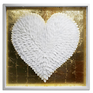 White And Gold Feather Heart | Framed Art | Art by Type | Art | Z ...