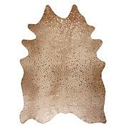 Ayi Metallic Faux Cowhide Rug - Tan