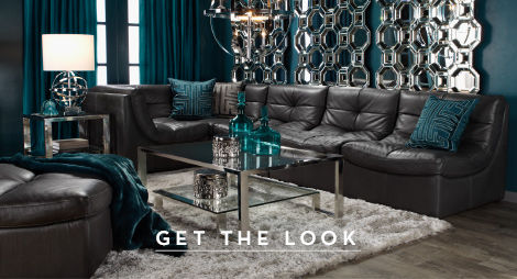 Cerulean and chocolate luxe livingroom. Get the look.