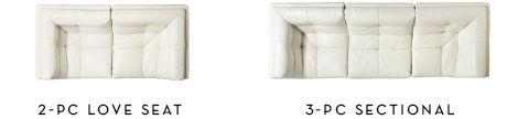 2-piece loveseat, 3-piece sectional sofa configuration