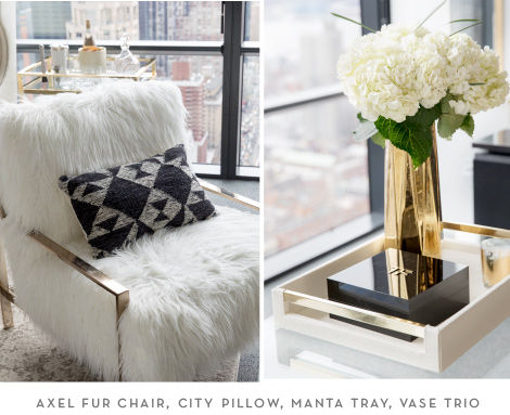 The Axel Fur CHair, City Pillow, Manta Tray, and Vase Trio