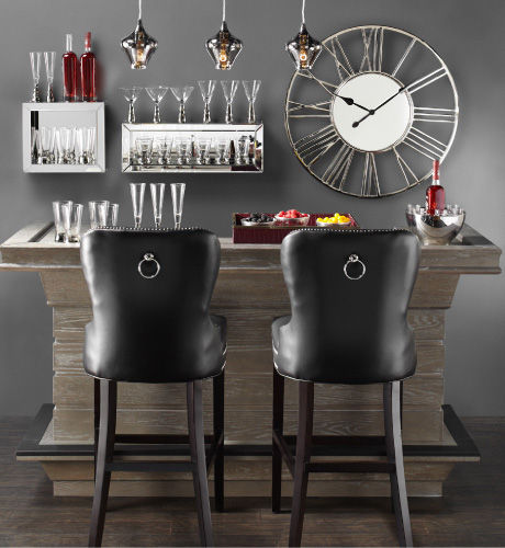 The Hendrix Bar, Charlotte Stool in Leather, and Camden Pendant
