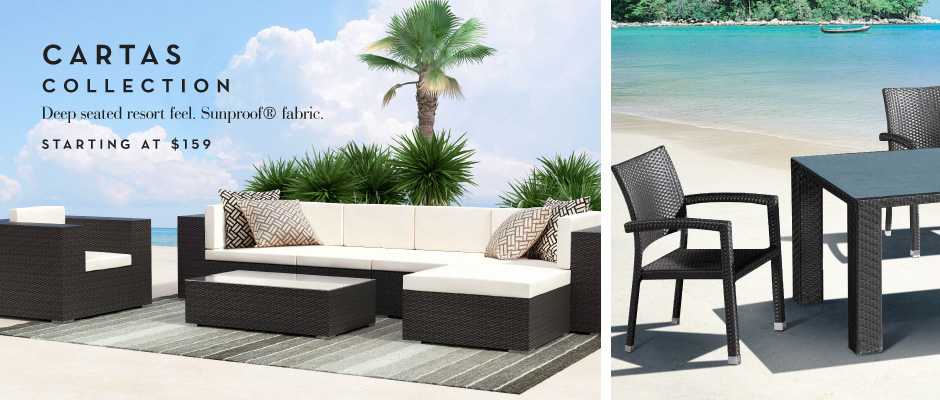 The Cartas Collection: Deep Seated, Resort Feel. Sunproof Fabric.