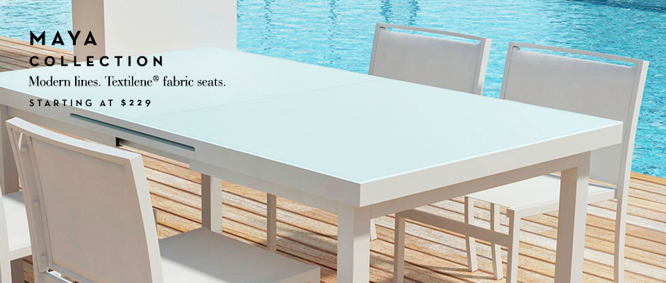 Modern lines. Textilene fabric seats. Starting at $229