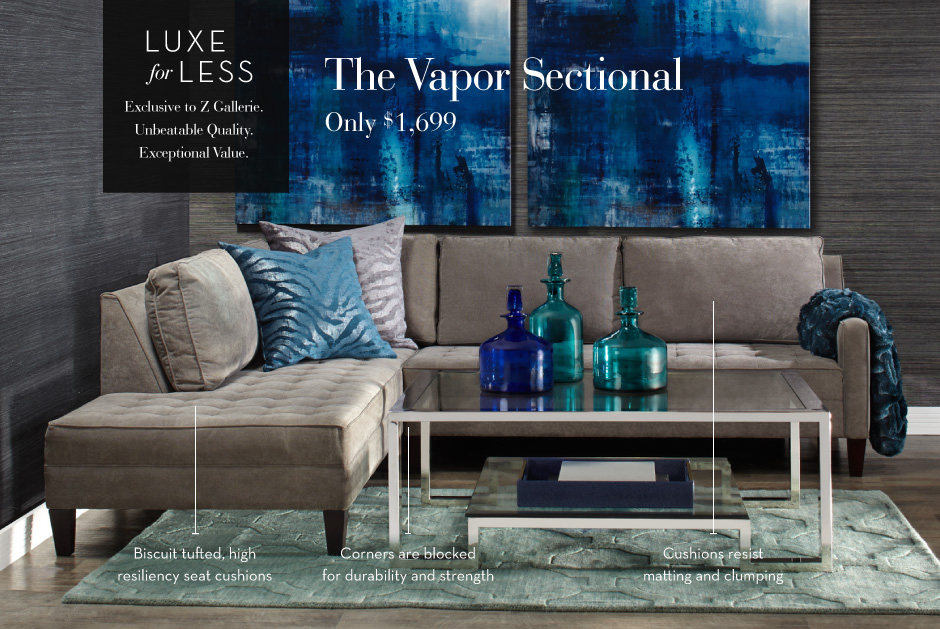 Luxe for Less - The Vapor Sectional Sofa