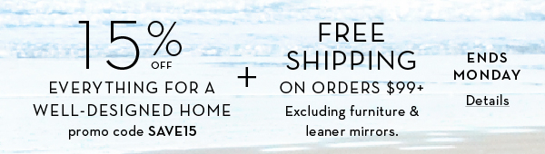 15% Off Your purchase + Free Shipping