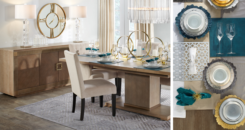 Quinn Modern Metallics Dining Room Inspiration