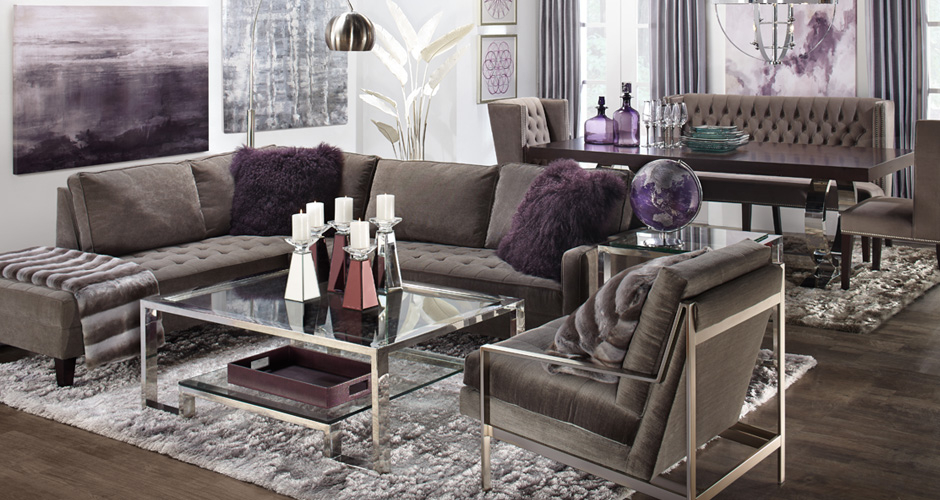 Vapor Sectional Aubergine Living Room Inspiration