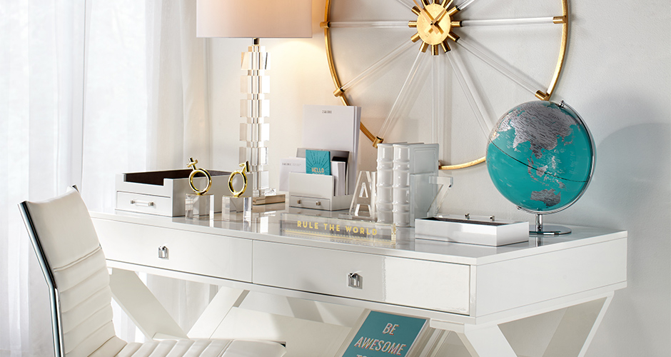Jet Desk, White and Aqua Office Inspiration