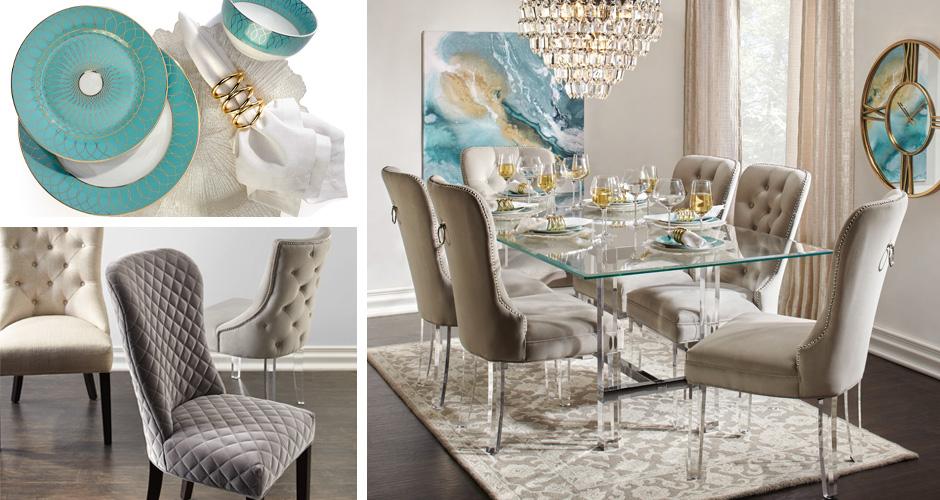 Savoy Aqua Glam Dining Room Inspiration