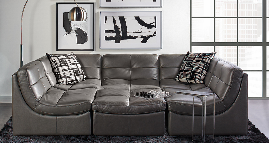 The Convo Modular Sectional With Ery Feel Of An Italian Pebbled Leather Handbag