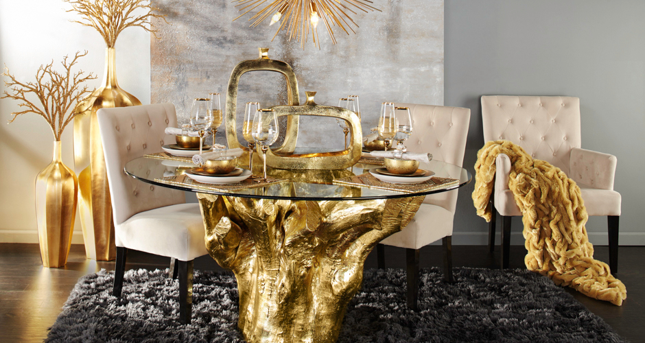 Dining room inspiration gold sequoia z gallerie for Z gallerie dining room inspiration