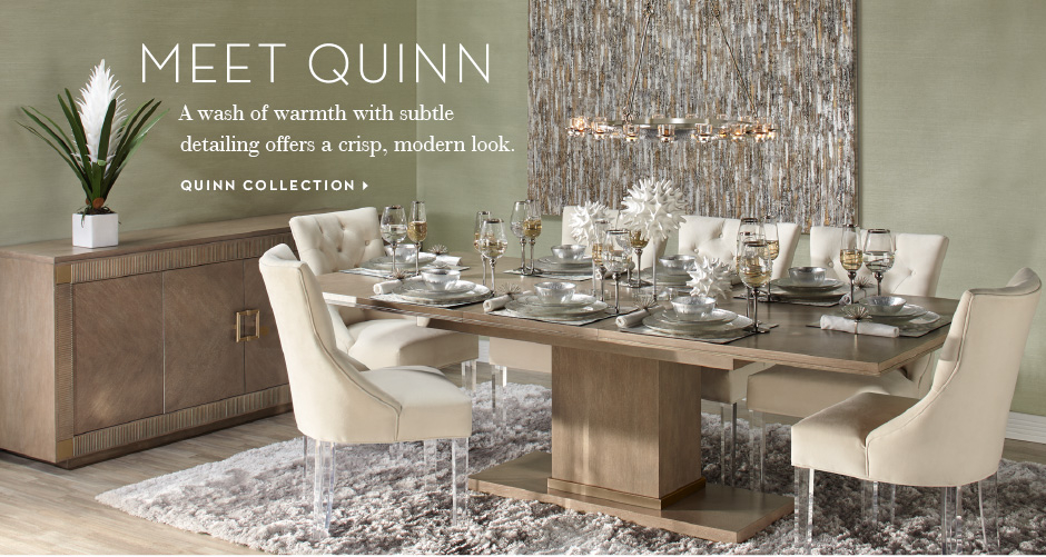 A wash of warmth with subtle detailing ofers a crisp, modern look. Shop the Quinn Collection