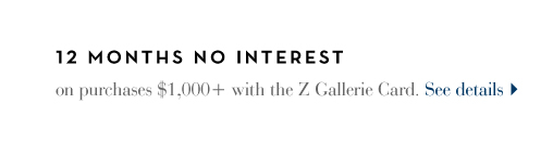 The Z Gallerie Credit Card. 12 Months, no interest. See Details >